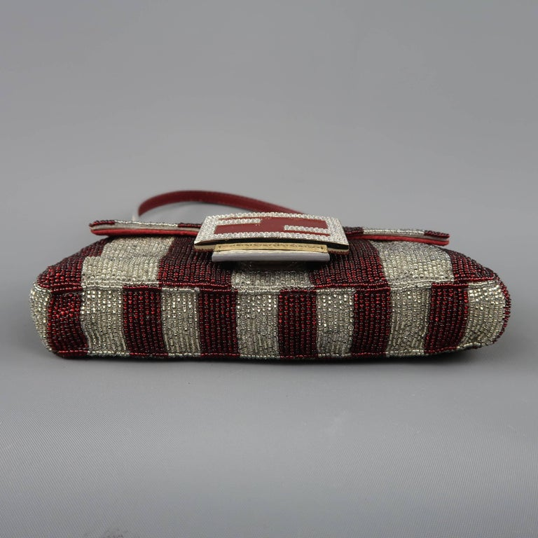 80c8731ad5 Fendi Bag Burgundy   Silver Beaded Crystal Buckle Mini Baguette Handbag For  Sale 5