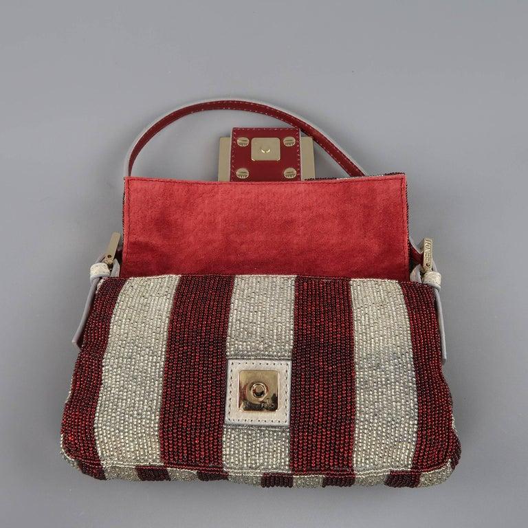 2f5a9e3e94 Fendi Bag Burgundy   Silver Beaded Crystal Buckle Mini Baguette Handbag For  Sale 7