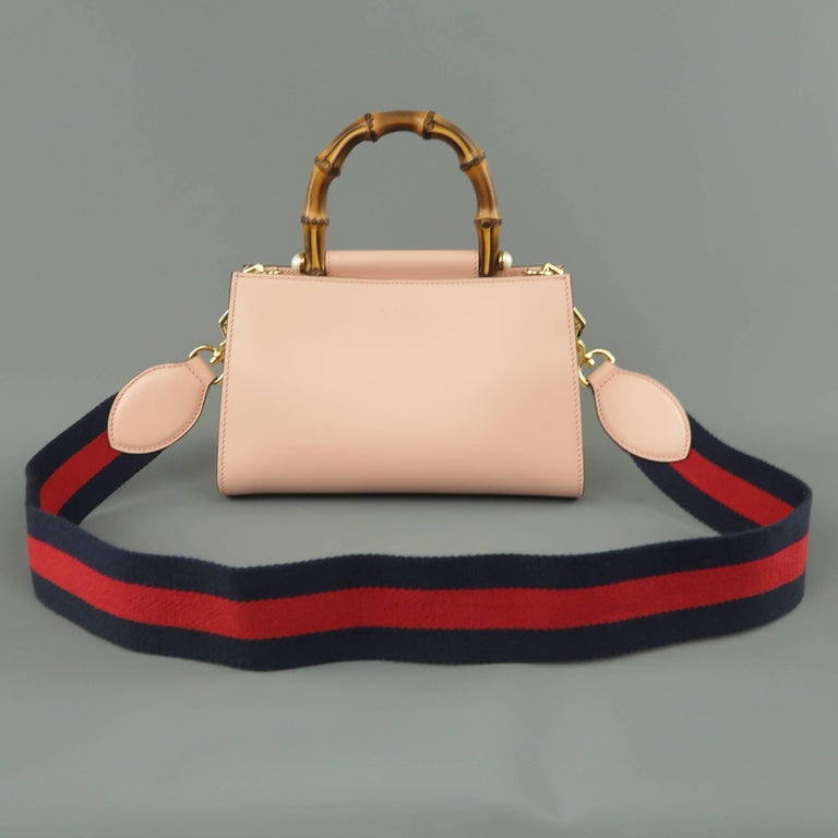 9bb7d245d Gucci Pink Leather Nymphaea Bamboo Top Handle Striped Crossbody ...