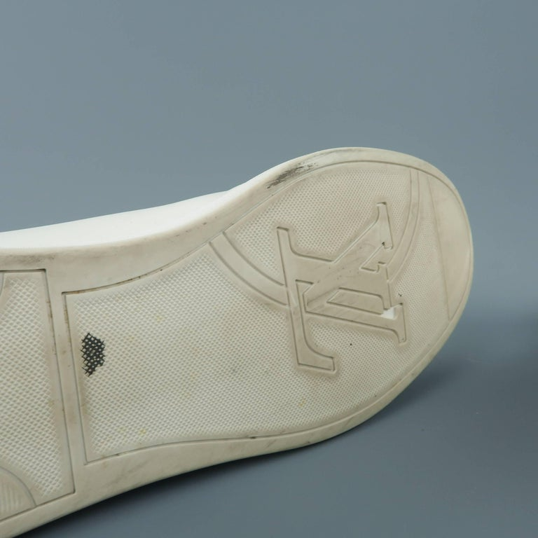 Louis Vuitton Men S White Leather Brown Monogram Canvas