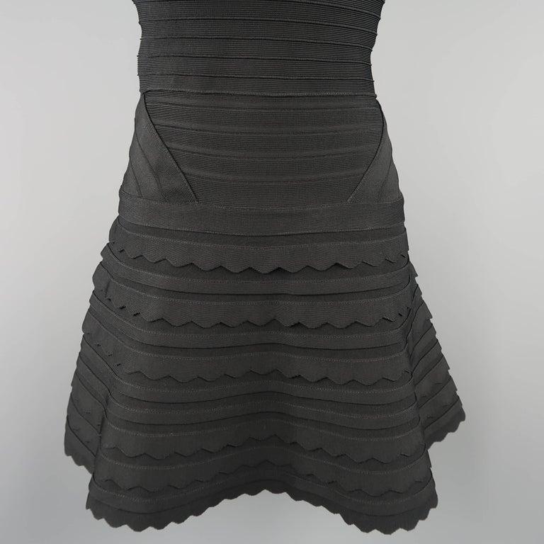 Herve Leger Black Scalloped Bandage Strapless Phoebe Dress For Sale