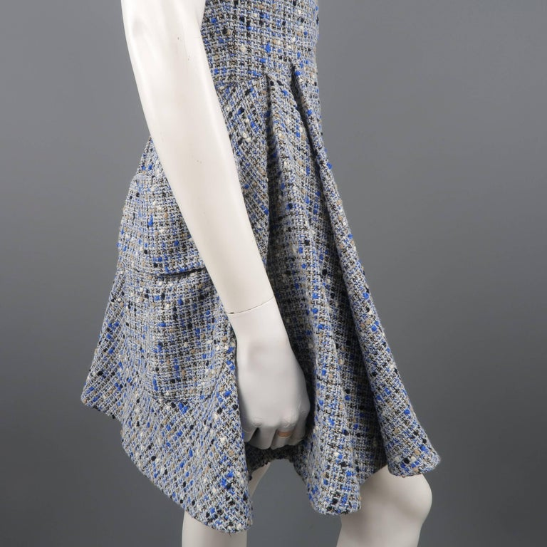 Christian Dior Blue Wool Blend Tweed V Neck Pleated Skirt Cocktail Dress For Sale 1