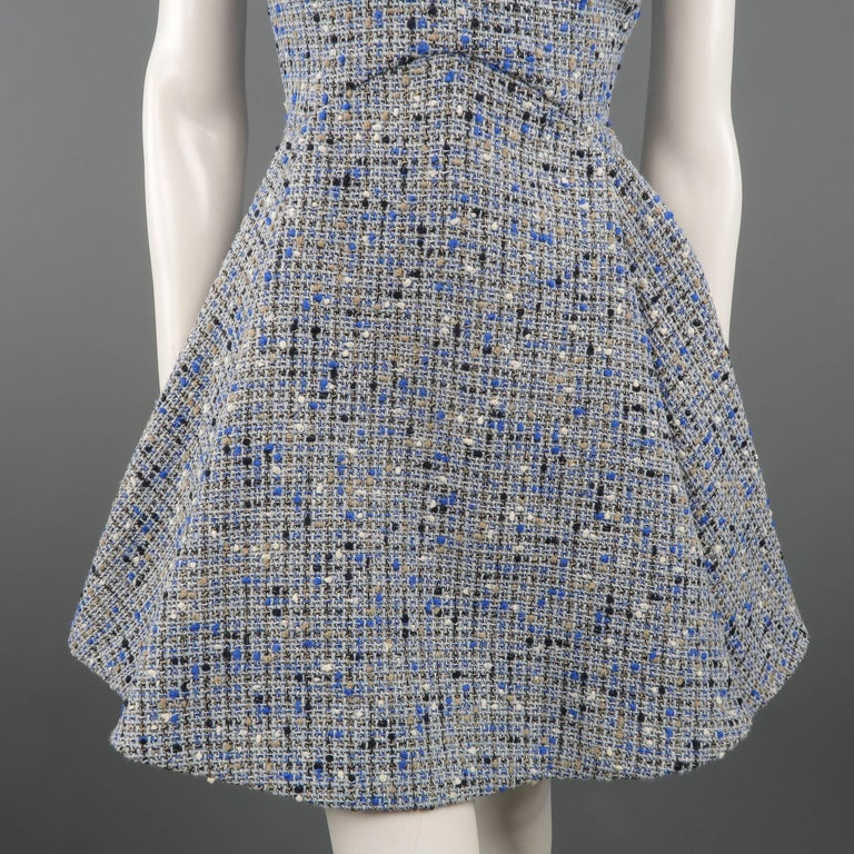 Christian Dior Blue Wool Blend Tweed V Neck Pleated Skirt Cocktail Dress In Excellent Condition For Sale In San Francisco, CA