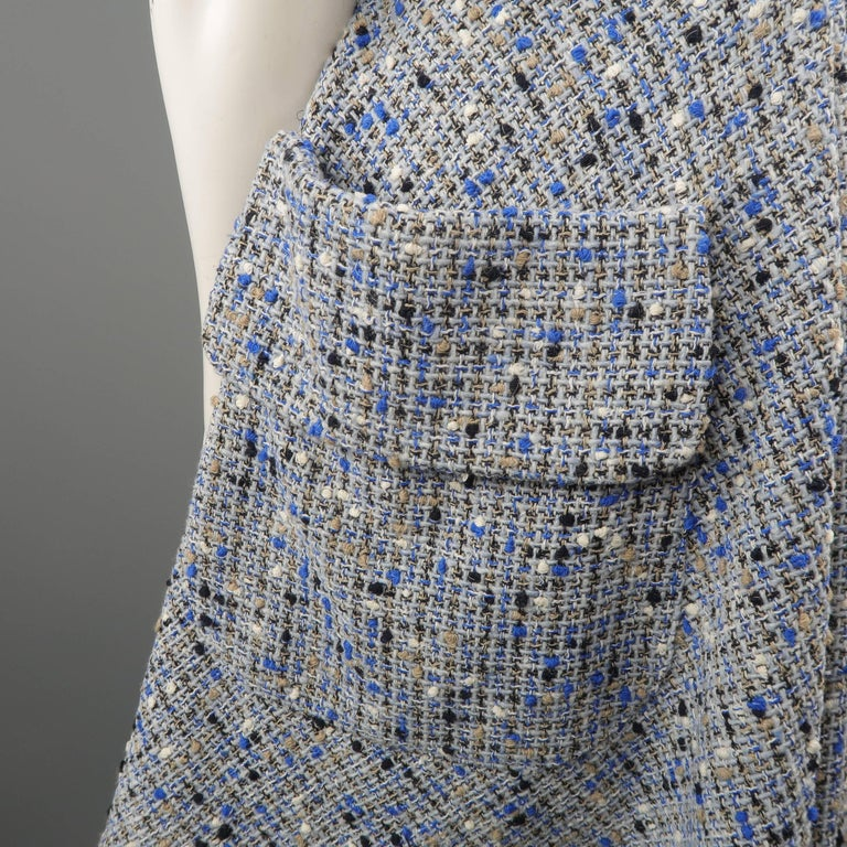 Christian Dior Blue Wool Blend Tweed V Neck Pleated Skirt Cocktail Dress For Sale 4