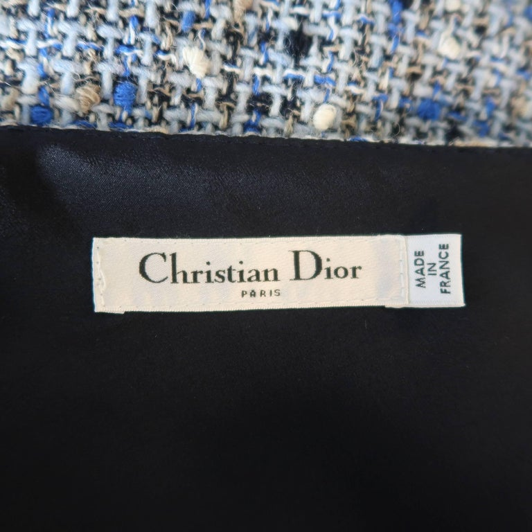 Christian Dior Blue Wool Blend Tweed V Neck Pleated Skirt Cocktail Dress For Sale 5