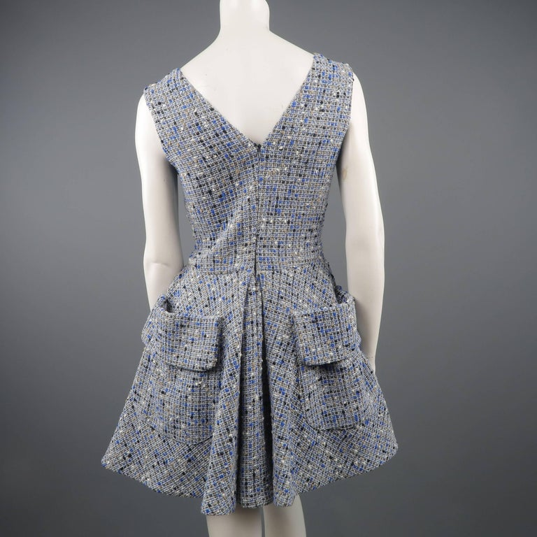 Christian Dior Blue Wool Blend Tweed V Neck Pleated Skirt Cocktail Dress For Sale 2