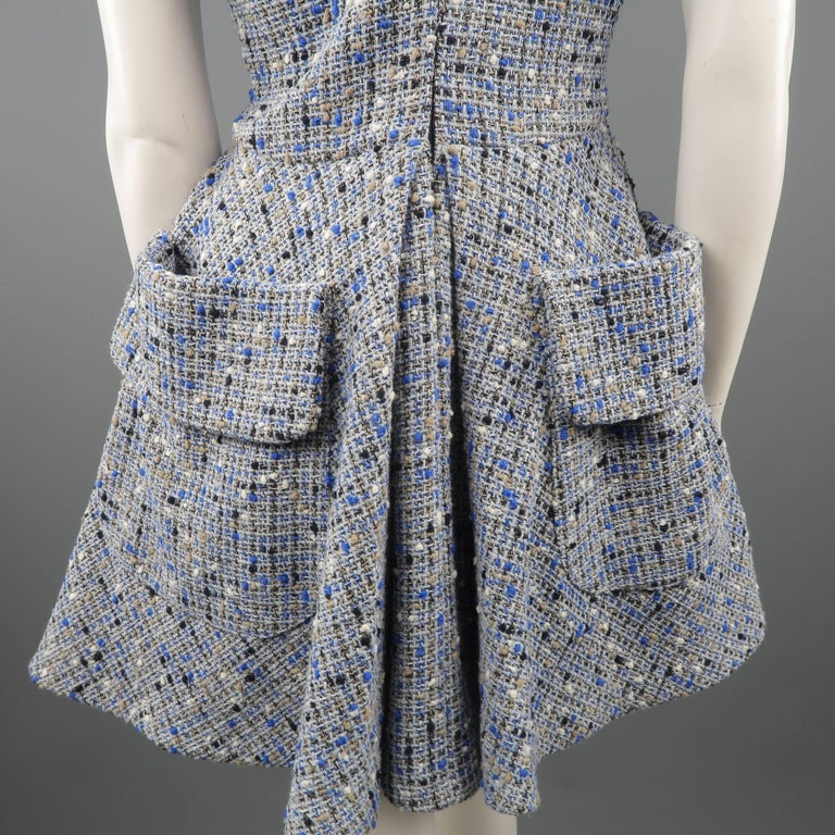 Christian Dior Blue Wool Blend Tweed V Neck Pleated Skirt Cocktail Dress For Sale 3