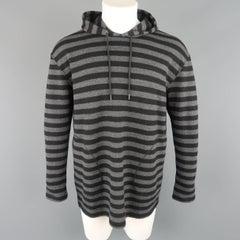 Men's JUNYA WATANABE Size S Black & Grey Stripe Wool Pullover Hoodie