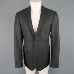 Men's RAF SIMONS 40 Charcoal Herringbone Textured Wool Flap Sport Coat