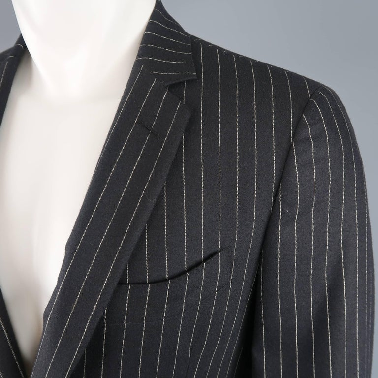 a4c9edc787410 Single breasted John Varvatos sport coat comes in black wool cashmere with  beige pinstripes, notch