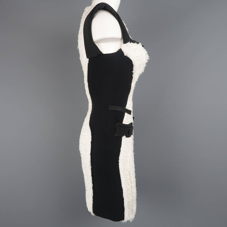 ANTONIO BERARDI Size 6 Black & White Tweed Panel Color Block Dress For Sale 2