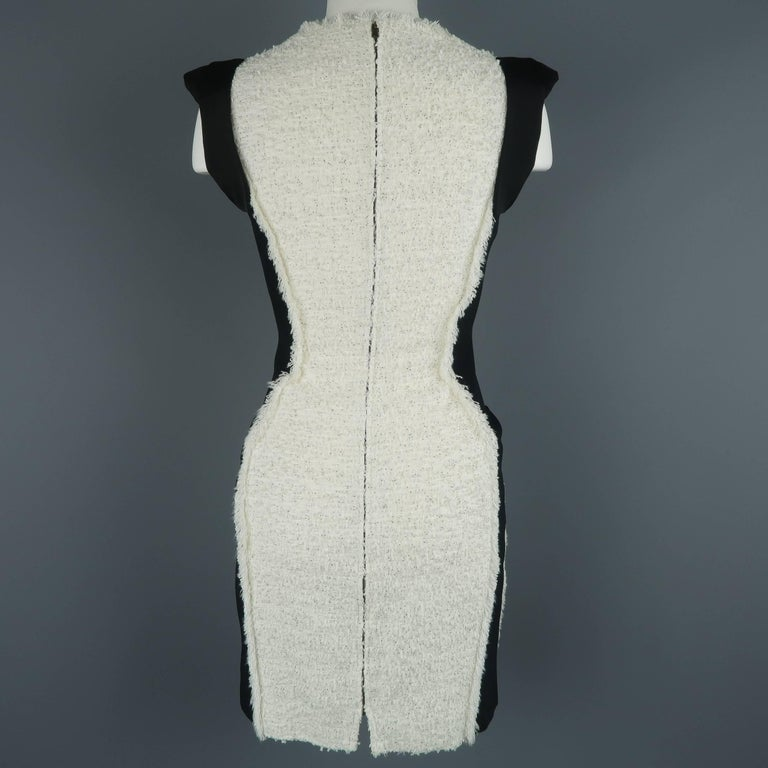ANTONIO BERARDI Size 6 Black & White Tweed Panel Color Block Dress For Sale 3