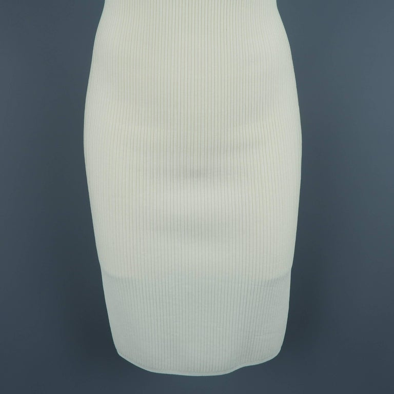 Beige Alaia Dress - Size XS - Cream Ribbed Scoop Neck Bodycon Sleeveless For Sale