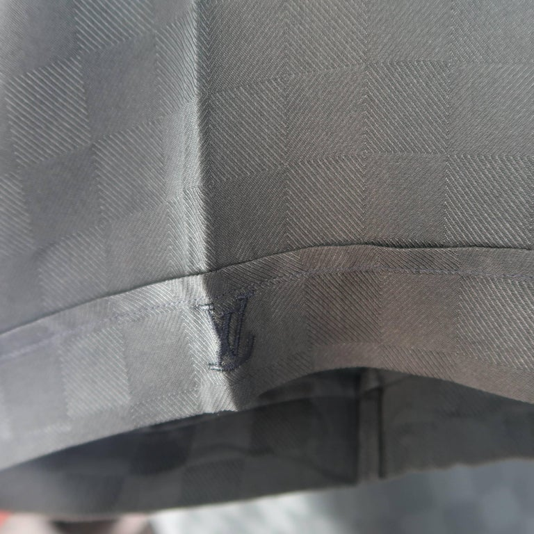 b492cba7 Gray Louis Vuitton Charcoal Damier Checkered Silk Short Sleeve Shirt For  Sale