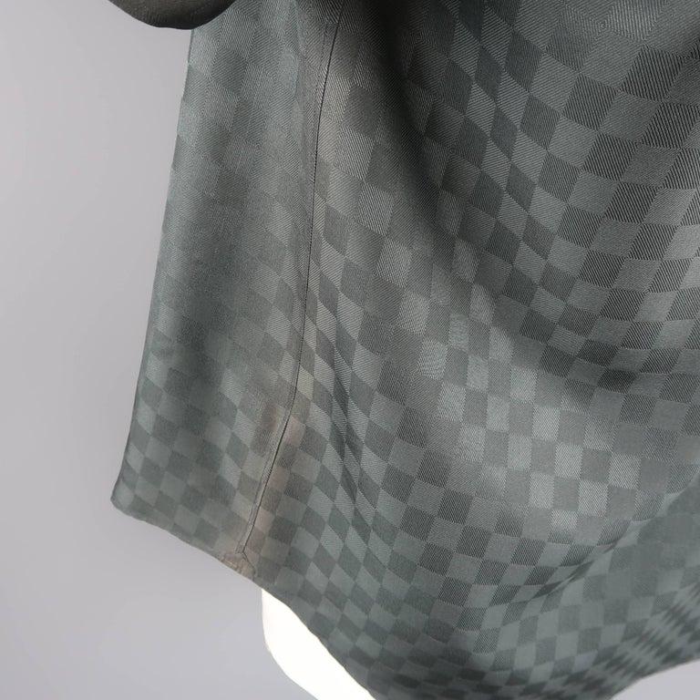 e5355192 Men's Louis Vuitton Charcoal Damier Checkered Silk Short Sleeve Shirt For  Sale
