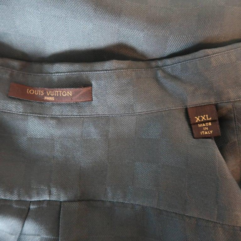 a5018125 Louis Vuitton Charcoal Damier Checkered Silk Short Sleeve Shirt For Sale 3