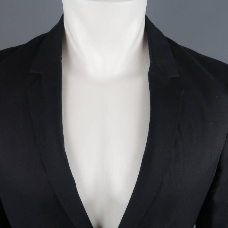 KRIS VAN ASSCHE 36 Regular Black Layered Raw Edge Wool Sport Coat Jacket In New Condition For Sale In San Francisco, CA