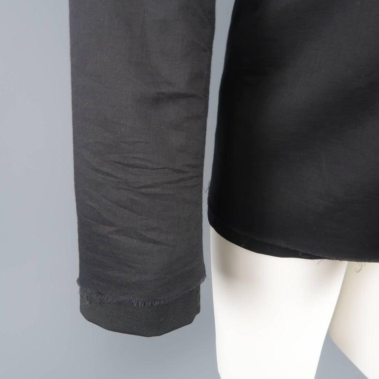 Men's KRIS VAN ASSCHE 36 Regular Black Layered Raw Edge Wool Sport Coat Jacket For Sale