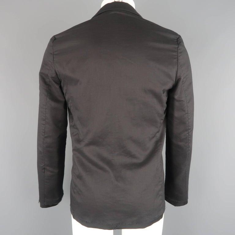 KRIS VAN ASSCHE 36 Regular Black Layered Raw Edge Wool Sport Coat Jacket For Sale 1