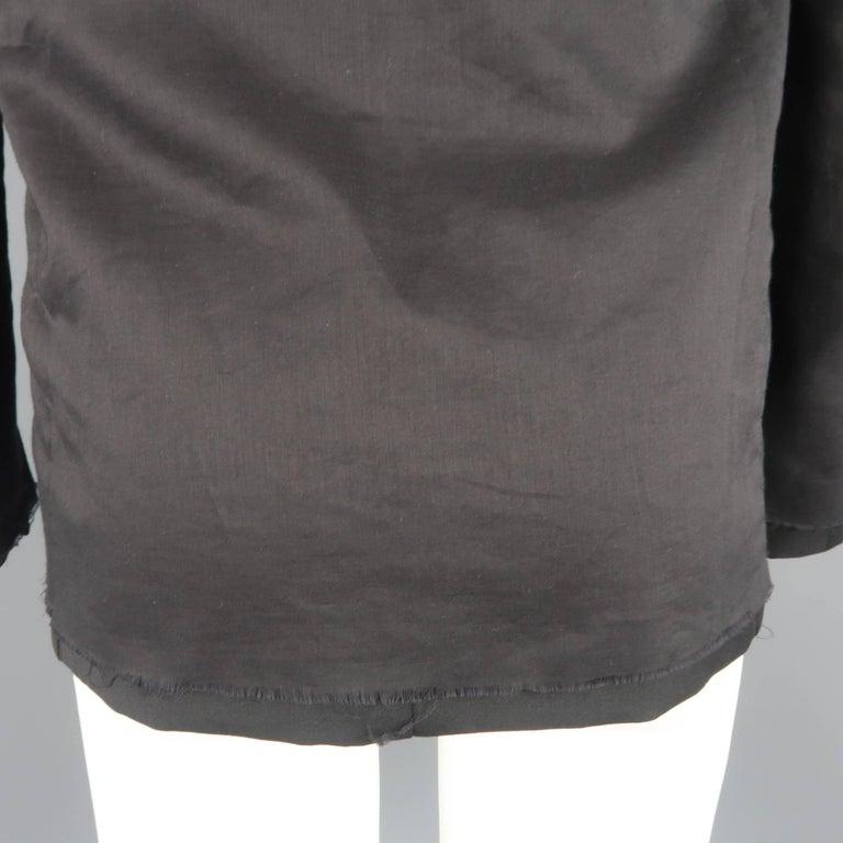 KRIS VAN ASSCHE 36 Regular Black Layered Raw Edge Wool Sport Coat Jacket For Sale 2