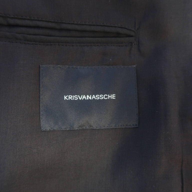 KRIS VAN ASSCHE 36 Regular Black Layered Raw Edge Wool Sport Coat Jacket For Sale 3