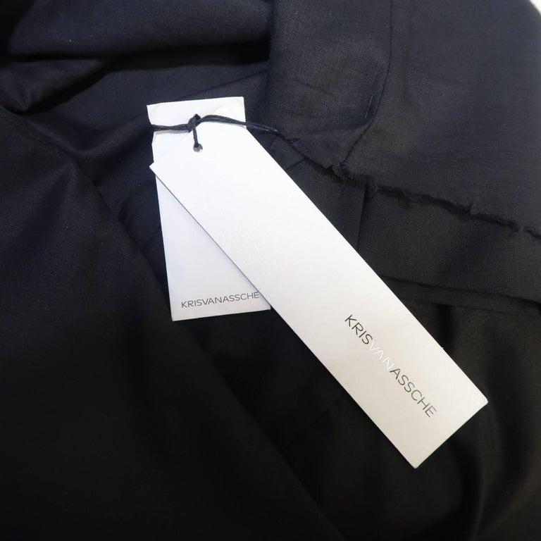 KRIS VAN ASSCHE 36 Regular Black Layered Raw Edge Wool Sport Coat Jacket For Sale 4