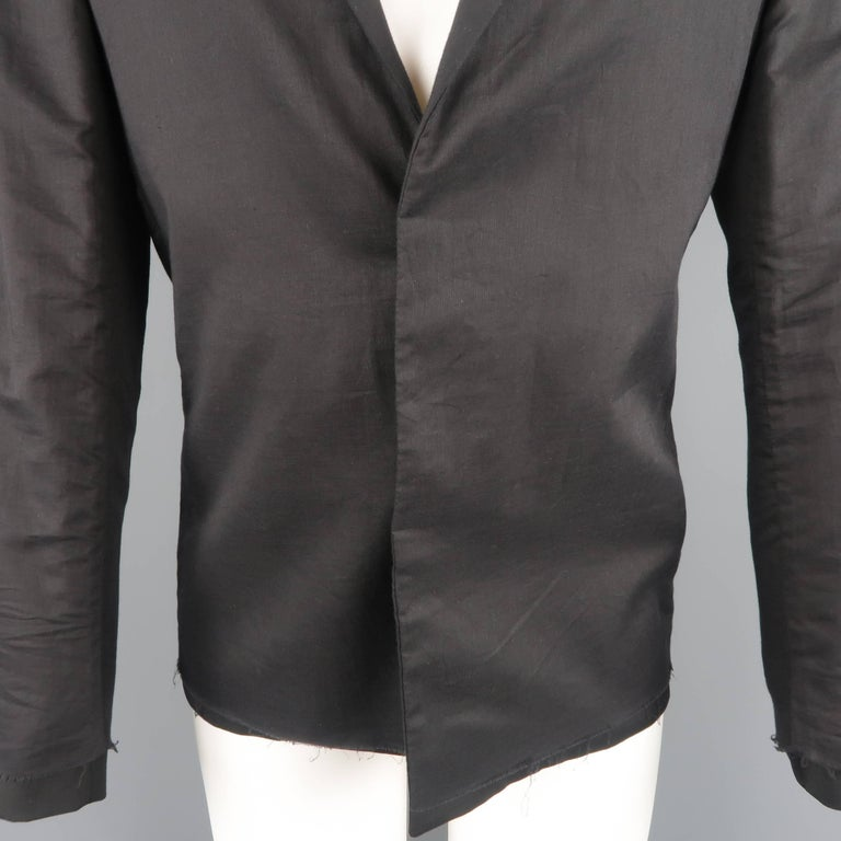ac0d0f9c98 KRIS VAN ASSCHE 36 Regular Black Layered Raw Edge Wool Sport Coat Jacket