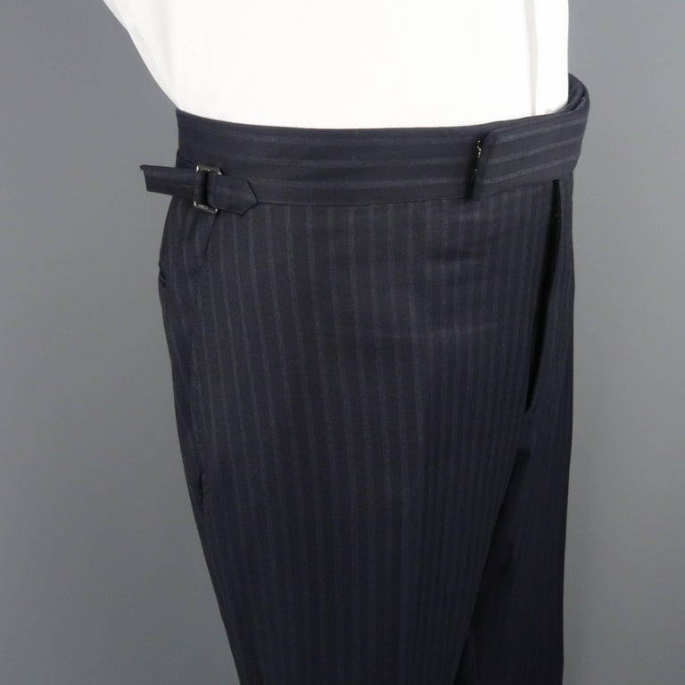 Tom Ford Men's Black Stripe Wool Notch Lapel Suit In Good Condition For Sale In San Francisco, CA