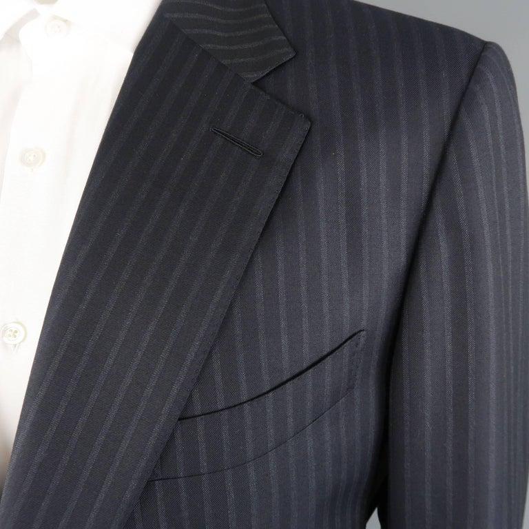 Tom Ford Men's Black Stripe Wool Notch Lapel Suit For Sale 2