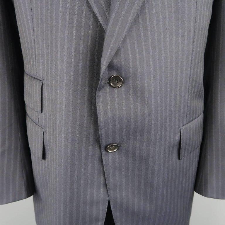 Tom Ford Men's Black Stripe Wool Notch Lapel Suit For Sale 3