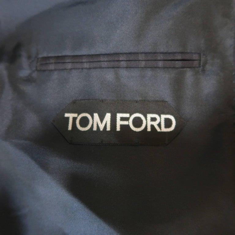 Tom Ford Men's Black Stripe Wool Notch Lapel Suit For Sale 7