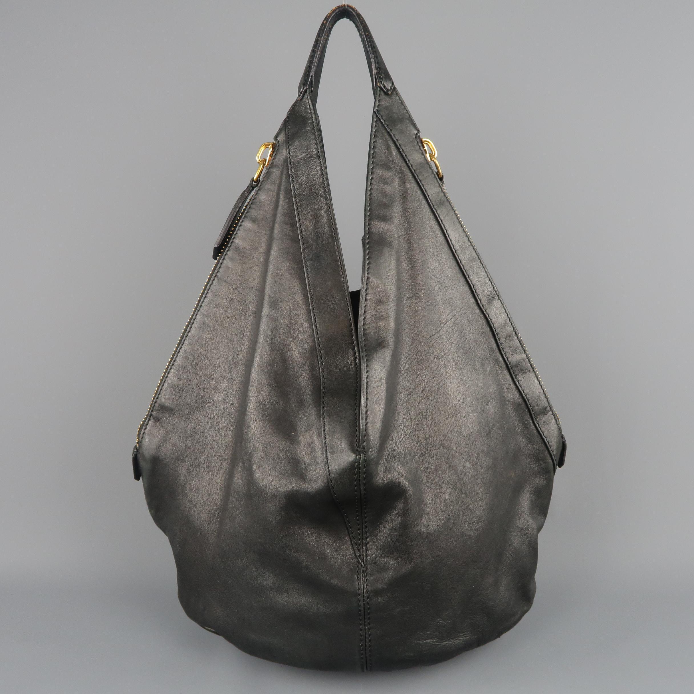6cbf076a8d GIVENCHY Black Leather Gold Studded TINHAN Large Hobo Bag at 1stdibs