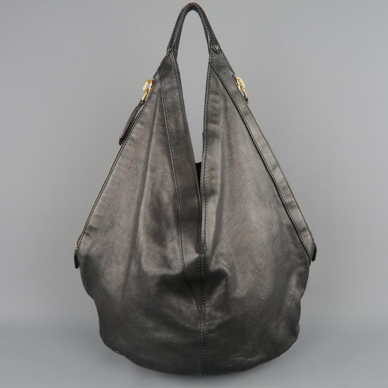Givenchy Black Leather Gold Studded Tinhan Large Hobo Bag For 2