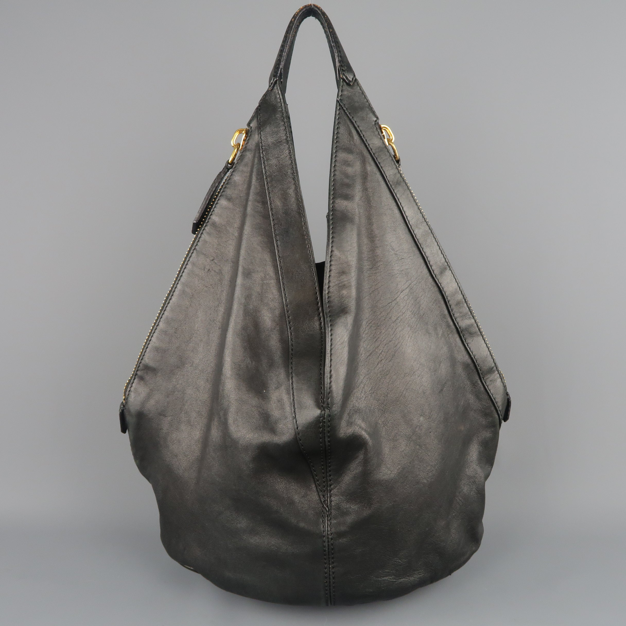 d515e325a175 GIVENCHY Black Leather Gold Studded TINHAN Large Hobo Bag at 1stdibs