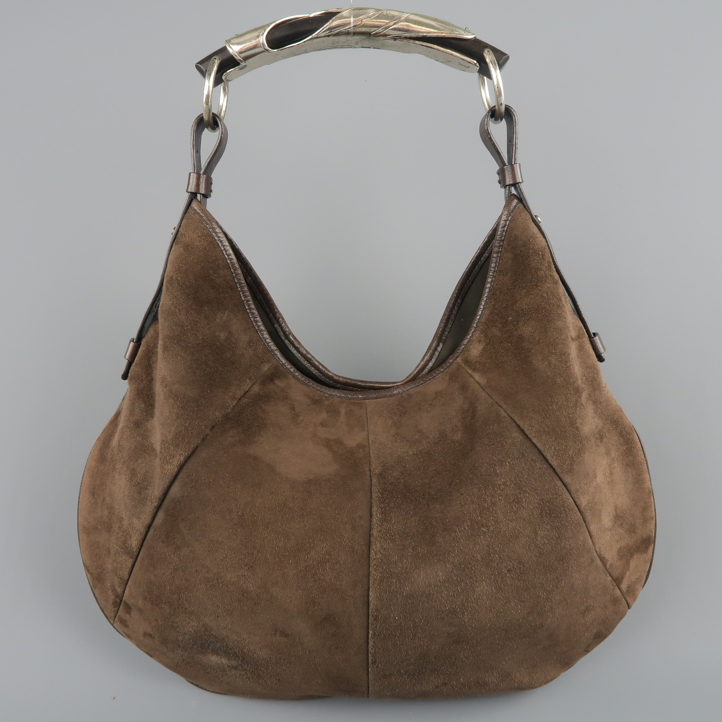 1a4d1e758c Yves Saint Laurent Brown Suede Silver Metal Handle Mombasa Handbag at  1stdibs