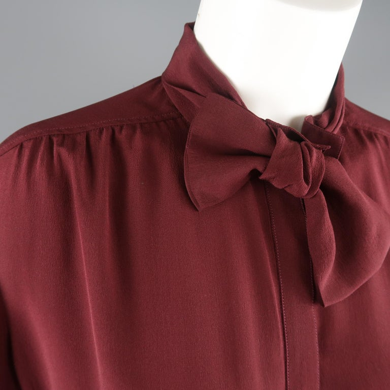 Brown BURBERRY PRORSUM Size 6 Burgundy Silk Bow Collar Blouse For Sale