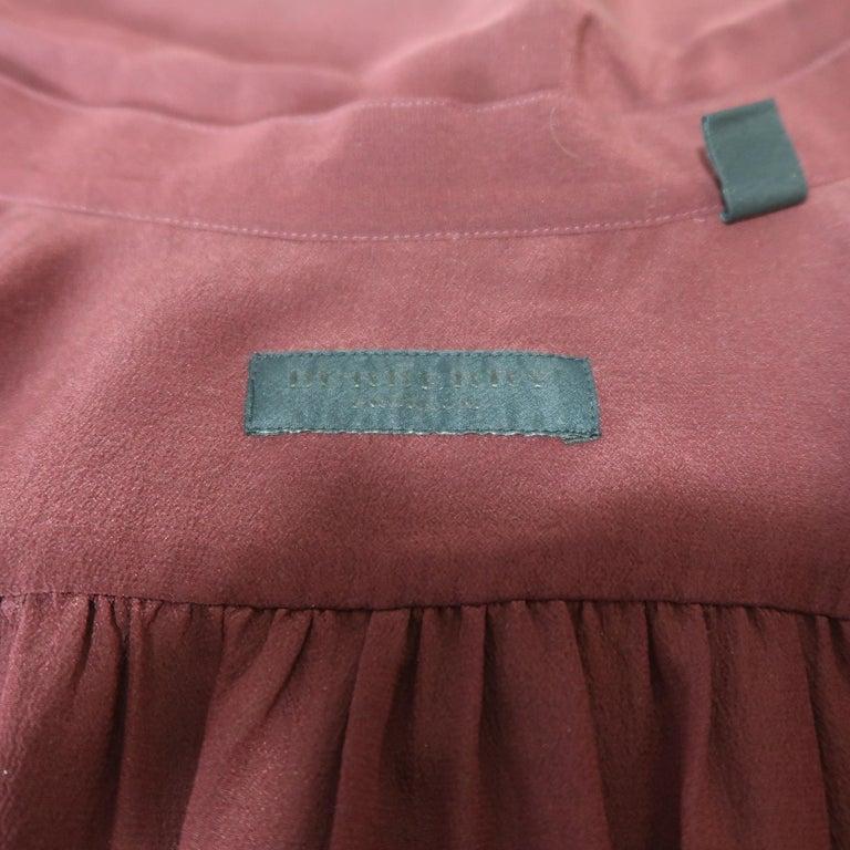 BURBERRY PRORSUM Size 6 Burgundy Silk Bow Collar Blouse For Sale 1