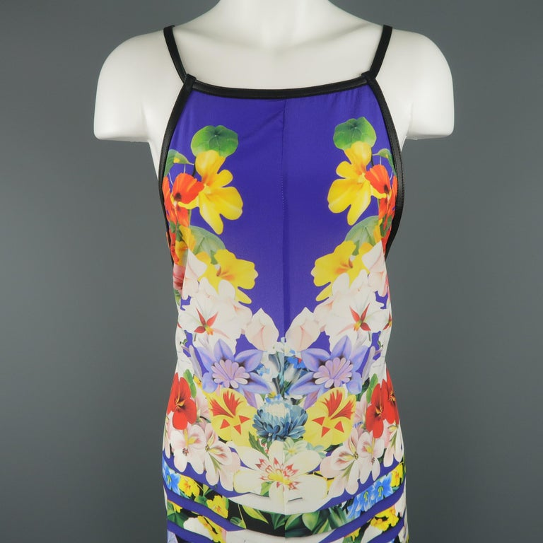 MARY KATRONTZOU dress comes in blue silk crepe chiffon with all over multi-color striped floral pattern, A line silhouette and black leather straps. Made in UK.   Excellent Pre-Owned Condition. Marked: (no size)   Measurements:   Shoulder: 11