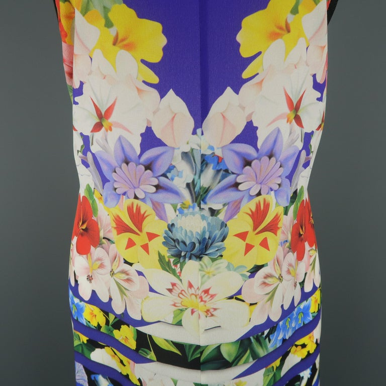 Gray MARY KATRANTZOU Size M Blue Multi-Color Striped Floral Silk Dress For Sale