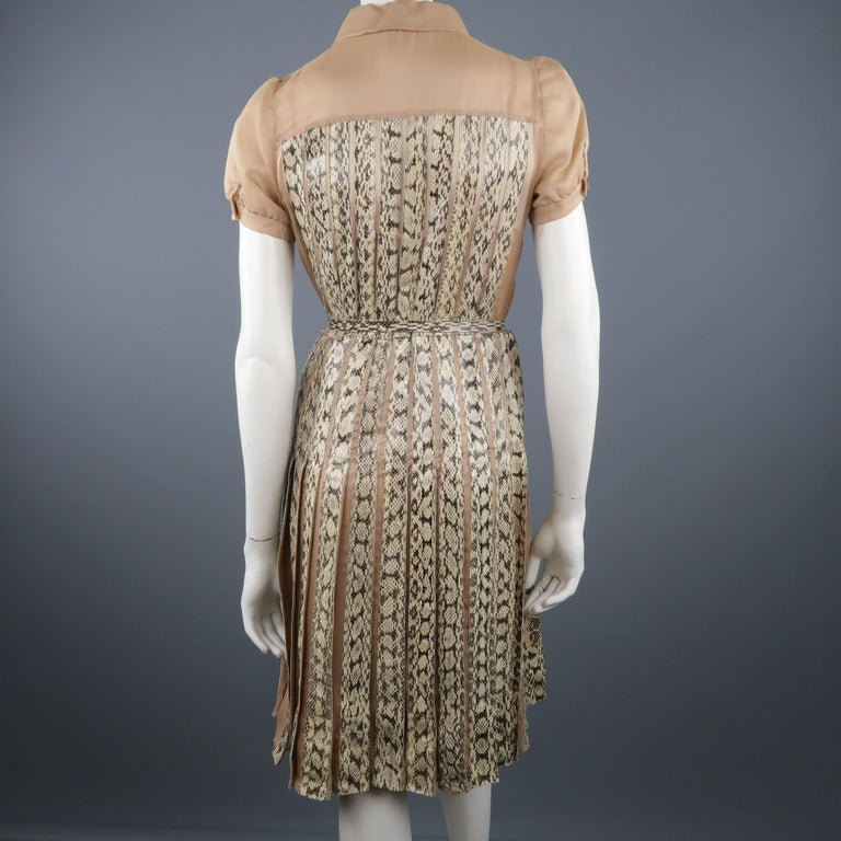 Valentino Silk and Snake Skin Pleated Cocktail Dress, Spring 2013 Runway  For Sale 7