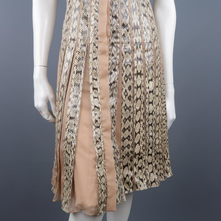 Valentino Silk and Snake Skin Pleated Cocktail Dress, Spring 2013 Runway  For Sale 3