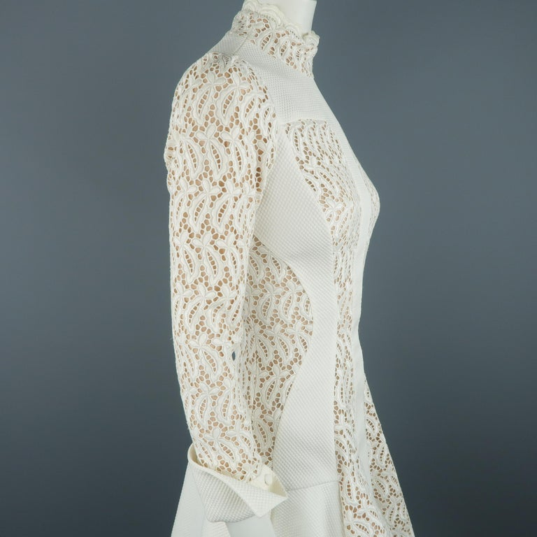 Alexander McQueen White Cream Lace Cocktail Dress, Pre-Fall 2015 Runway For Sale 4