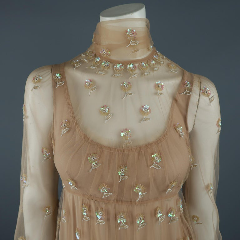 Brown Valentino Dress - Tan Floral Beaded Tulle Scarf Cocktail Dress For Sale