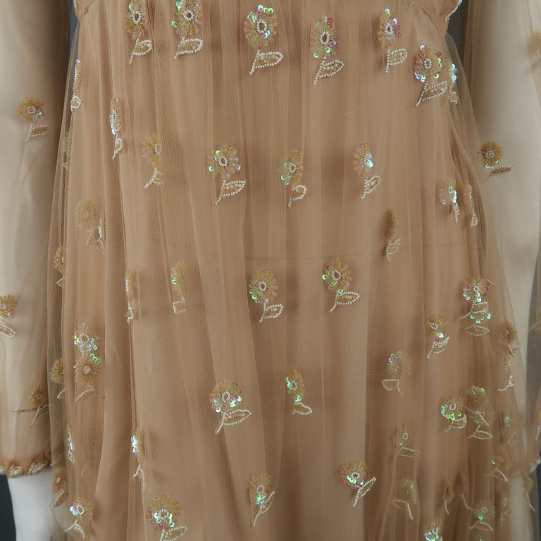 Valentino Dress - Tan Floral Beaded Tulle Scarf Cocktail Dress In Excellent Condition For Sale In San Francisco, CA