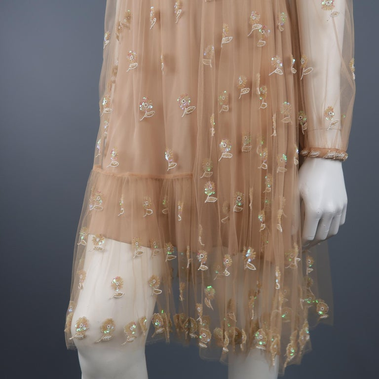 Women's Valentino Dress - Tan Floral Beaded Tulle Scarf Cocktail Dress For Sale