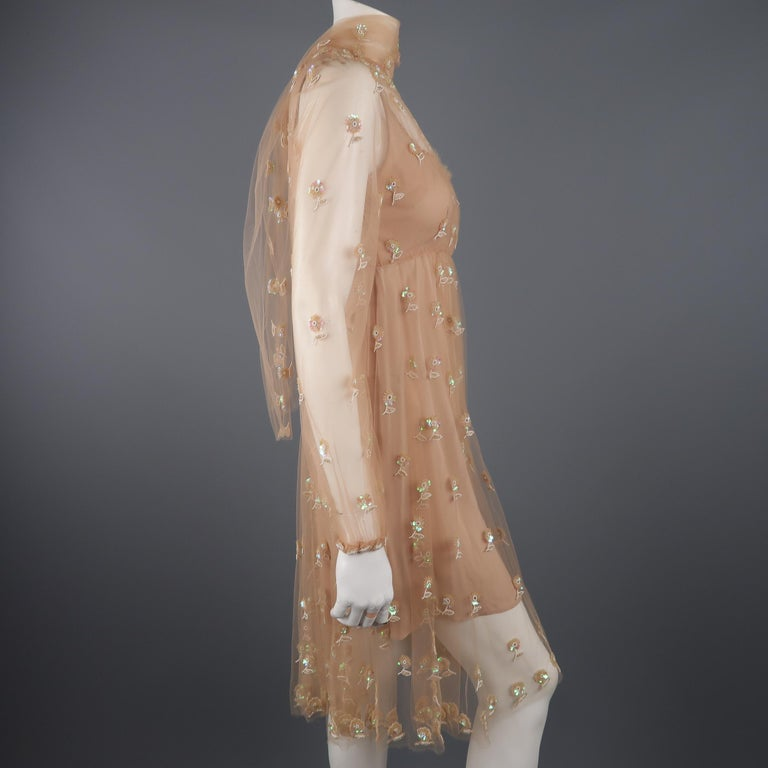 Valentino Dress - Tan Floral Beaded Tulle Scarf Cocktail Dress For Sale 1