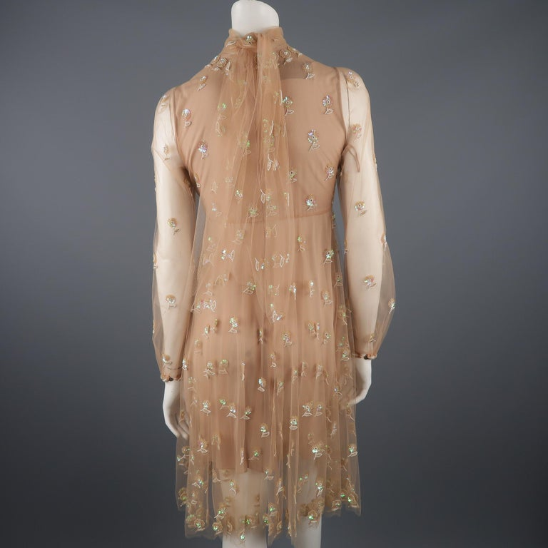 Valentino Dress - Tan Floral Beaded Tulle Scarf Cocktail Dress For Sale 2