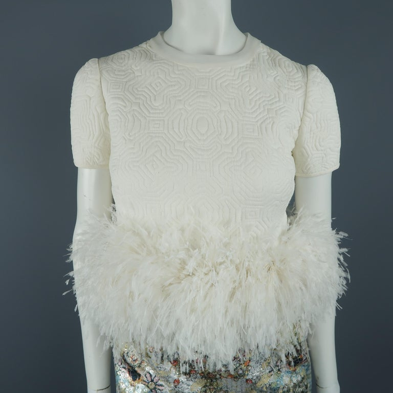 Ralph Rucci White Silk Feathered Cocktail Dress, Fall 2013 Runway In New Condition For Sale In San Francisco, CA