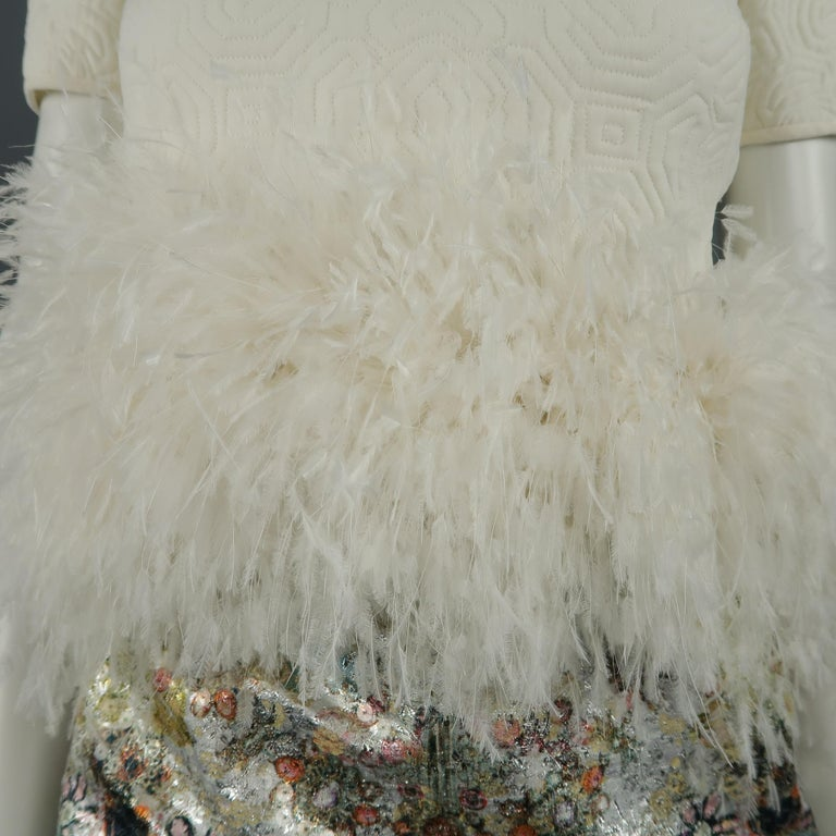 Ralph Rucci White Silk Feathered Cocktail Dress, Fall 2013 Runway For Sale 1