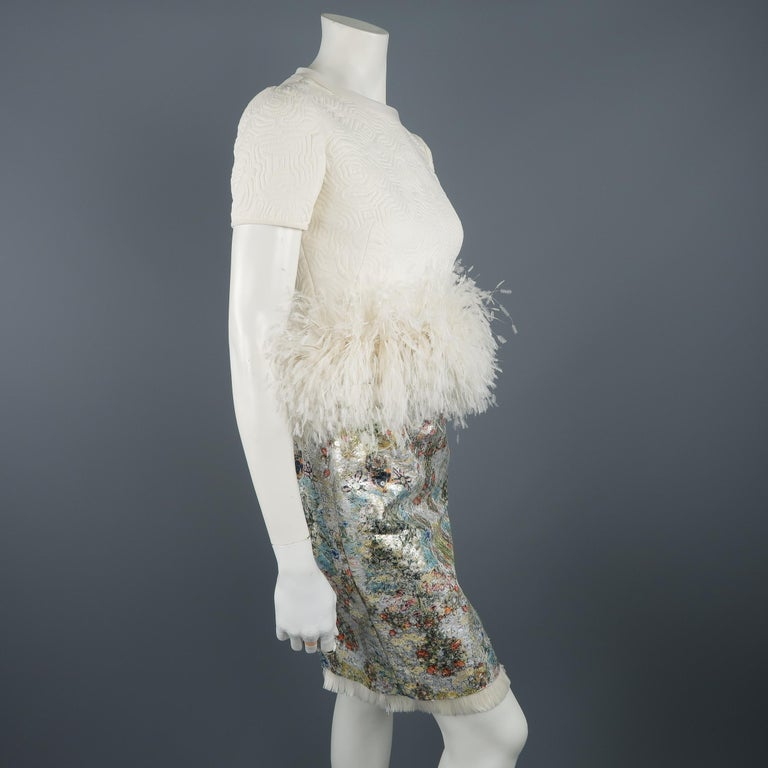 Ralph Rucci White Silk Feathered Cocktail Dress, Fall 2013 Runway For Sale 4